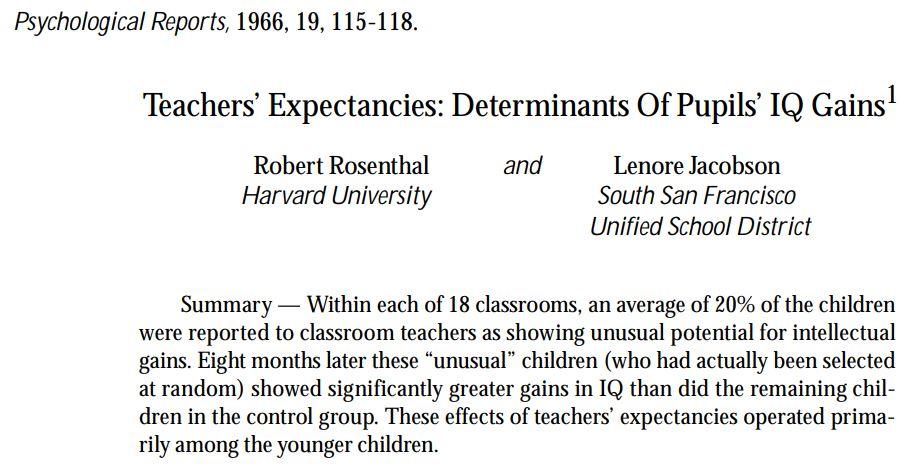 Studie Rosenthal: Erwartungen beeinflussen den Lernerfolg